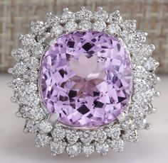 ESTATE 20.08CTW NATURAL KUNZITE AND DIAMOND RING 14K SOLID WHITE GOLD in Jewelry & Watches, Fine Jewelry, Fine Rings | eBay