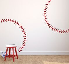 Baseball Decal Stitches Wall Personalized Mural Sports Design Decor S06