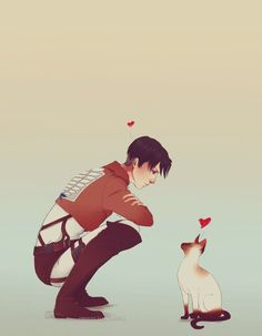 Levi with a Siamese Cat! I do think they match in term of sassiness elegance!! :D