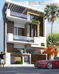 3 Storey House Design, House Roof Design, Duplex House Design, 2bhk House Plan, Bungalow House Plans, Modern Exterior House Designs, Modern Villa Design, House Columns, Facade House
