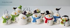 Set of 12 Snowman Tree Ornaments Needle Felt Christmas by 5erg, $144.00