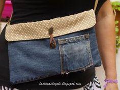 DIY, Bolsos con vaqueros reciclados. Costura Diy, Gypsy Bag, Denim Purse, Recycle Jeans, Love Jeans, Jeans Material, Recycled Denim, Bag Making, Diy Fashion
