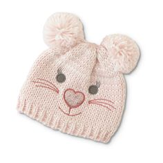 Give chilly days a dose of cuteness with this girls' winter beanie cap from Toughskins. This chunky knit hat features an embroidered bear face with. Beanie Pattern Free, Baby Hat Knitting Pattern, Baby Hats Knitting, Knitted Hats, Diy Crafts Knitting, Kids Winter Hats, Girl With Hat, Crochet Baby, Infant Girls