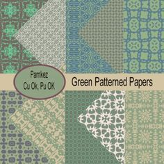 Green Patterned Papers [Pamkez] - $1.05 : Rockin Scrapz