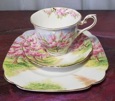 "ROYAL ALBERT 3 Peice ""BLOSSOM TIME"" TRIO TEACUP/SAUCER/ DESSERT PLATE   