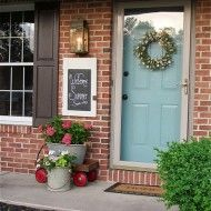 Brown Brick House Front Door Color This Storm Door Colonial Home Tour In Pa Filled With Charming Thrifty Home Decor Ideas Interior Decoration Living Room Small Exterior Paint Colors, Exterior House Colors, Orange Brick Houses, Red Brick Homes, Shutter Colors, Brown Brick, Dark Brown, Dark Grey, Painted Front Doors