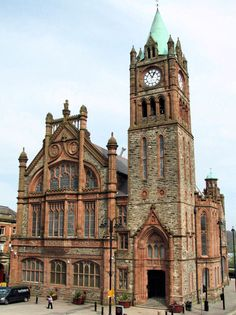 The Guildhall in Derry, County Londonderry, Northern Ireland, is a building in which the elected members of Derry City Council meet. It was built in 1890.
