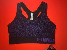NEW Women's UA Under Armour Printed Mid Impact Sports Bra X-Small Purple Bin 3 #UnderArmour #SportsBrasBraTops