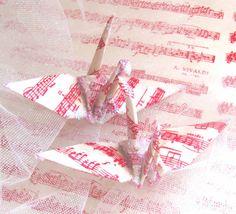 Vivaldi Music Peace Crane Wedding Cake Topper Party Favor Origami Ornament Decoration by localcolorist, $8.00