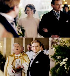 Downton Abbey: Michelle Dockery as Lady Mary Crawley and Dan Stevens as Matthew Crawley on their wedding day.