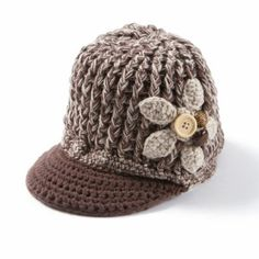 Crochet Knit Cubby Hat with Crochet Flower and Button Trim Crochet Flowers, Bridal Accessories, Icing, Crochet Hats, Button, Knitting, Babys, Fashion, Knitting Hats