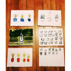 #art #print #ink #plants #pen #summer #pots #diy #cards #acrylic #gouache #illustration