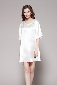 These 100-percent pure and high quality silk slips are made of 19 momme mulberry silk with custom plus size in one-piece. $86 #nightgowns #silk #lilysilk