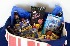 cute idea for father's day gift - my pop rocks gift basket with pop rocks, pop-its, pop, popcorn, etc.