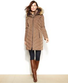 Jones New York Faux-Fur-Trim Hooded Down Puffer Coat, Whether you're at the mountains or in the city, Jones New York's faux-fur-trimmed hooded down coat is perfect for beating the cold weather blues!