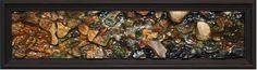 "Price: $1,300  WIN ZIBEON  Hodder River No. 1  Oil on Carved Wood, 9.5"" x 34""  Est. Value: 2,000"