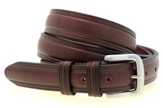 """1 1/4"""" sunset brown Harness Leather domed belt with brushed nickel buckle"""