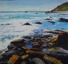 Cross-tide; Meadfoot Beach - Richard Thorn - watercolor