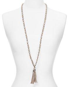 """Chan Luu Opal Beaded Fringe Necklace, 36"""" Beaded Tassel Necklace, Fringe Necklace, Boho Necklace, Jewelry Necklaces, Pendant Necklace, Green Opal, Pink Opal, Australian Black Opal, Chan Luu"""