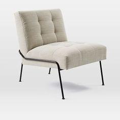 """Oswald Tufted Slipper Chair $500 l 28""""w x 30.5""""d x 32""""h."""