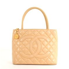 Chanel Beige Quilted Caviar Leather Medallion Tote Bag