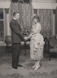 """Ernest Thesiger and Fay Compton in The Circle by Somerset Maugham, Haymarket Theatre, London, 1921.  In his memoir """"Practically True"""" Thesiger writes, """"My part of the pompous prig of a husband was psychologically complicated... In many ways it was the hardest and at the same time the most thankless part I have ever had to play..."""""""