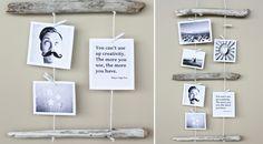 Pedaços de madeira + barbante = um enfeito criativo de fotos para a parede. Veja como fazer!