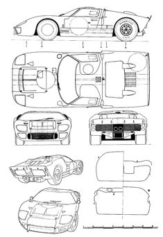 Sketchbook historic cars Pictures: Il figurino di un missile - Ford GT 40 MK II