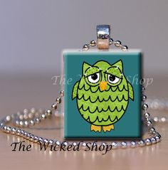 Scrabble Tile Pendant Necklace  Green Owl on Blue by TheWickedShop, $7.95
