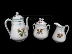 Haviland/Limoges 3 Piece Porcelain Tea Set