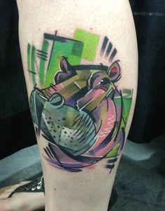 Tattoo Hippo head colorful #Tattoo, #Tattooed, #Tattoos