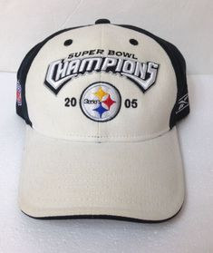 016ba3e614a vtg PITTSBURGH STEELERS 2005 SUPER BOWL CHAMPIONS HAT khaki   black curved  bill  Reebok  PittsburghSteelers