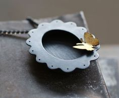 Kathi Roussel, Oxidized Sterling Shadowbox Pendant and Brooch Necklace with Golden Butterfly