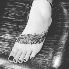 feather tattoos for foot