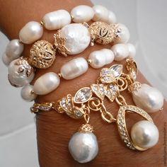 Купить Жемчужное чудо Браслет (Серьги) с барочным жемчугом - белый, жемчужные украшения, авторские украшения