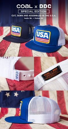 """Draplin Design Company """"DDC-105 COAL x DDC x USA Action Cap"""" #USA #Olympics"""