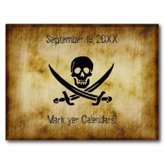 Pirate Wedding Save the Date Postcard - would be more cool as a placemat