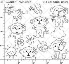 Monkey Girl Digital Stamps set di pixelpaperprints su Etsy
