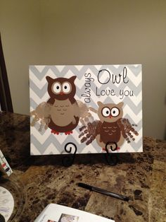 Handprint owl canvas