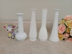 Collection Of 4 Milk Glass Pressed Glass Hobnail Bud Vases Shabby Chic Wedding Decor by MyPurpleCowLuvsMilk on Etsy
