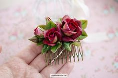 Decorative floral hair comb with two-sided roses in dark red and yellow colors These flowers have a very beautiful color gradient Made of baked polymer clay A good choose for the marsala wedding hairdo Not fragile