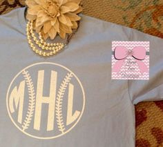 Monogram Softball or Baseball T-Shirt Monogram TShirt Glitter Softball or Baseball T-Shirt Monogram Tee Shirt Monogrammed Gifts