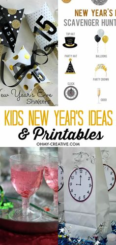 Make New Year's Eve extra special with these Kids New Year's Eve Ideas and Printables - fun kids drinks too!  |  OHMY-CREATIVE.COM Kids New Years Eve, New Years Eve Party, New Year's Eve Celebrations, New Year Celebration, New Year's Eve Crafts, Kid Crafts, Holiday Crafts, Holiday Fun, Holiday Ideas