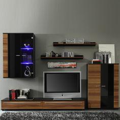 wohnwand casale cs2 von gwinner in lack weiss nussbaum. Black Bedroom Furniture Sets. Home Design Ideas