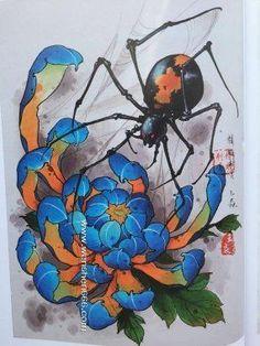 蜘蛛与菊花纹身手稿