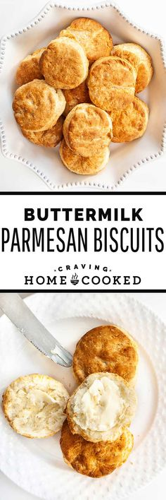 Buttermilk Parmesan Biscuits are everything you never knew you needed in a biscuit. Full of sharp, cheesy flavor, with lots of fluffy, flaky layers - these biscuits are a delicacy all of their own! Healthy Bread Recipes, Delicious Breakfast Recipes, Baking Recipes, Bread Bun, Bread Rolls, Fall Recipes, Sweet Recipes, Homemade Buttermilk Biscuits, Savory Scones