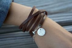 Fine Silver PMC Charm and Leather Wrap - Red/Brown with Small Floral Circle