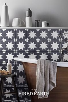 Bathroom Inspiration, Bathroom Ideas, Porcelain Black, Victorian Kitchen, Fired Earth, Downstairs Loo, Encaustic Tile, Town House, Kitchen Equipment