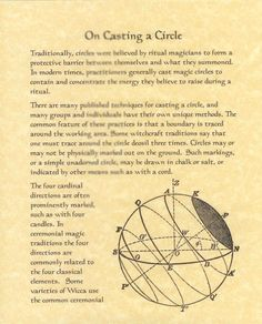 Book of Shadows page about How to Cast or Casting a Circle picclick.com