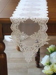 Free Shipping Handmade Wedding Lace White Table Doily Runner,Embroidery 21x180cm